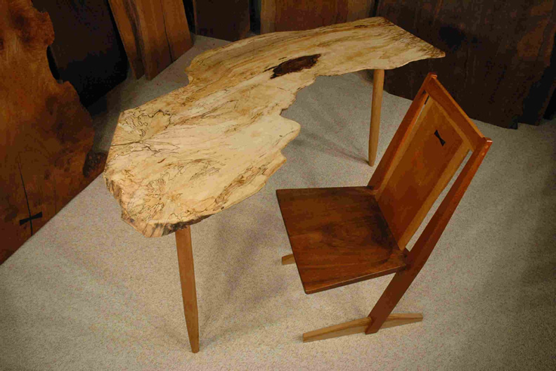 Nakashima Style Spalted Maple Slab Desk or Table