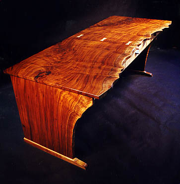 Organic Natural Edge Claro Walnut Custom Computer Desk