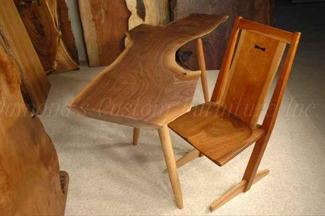 Irregular Organic Shaped Walnut Slab Nakashima Style Table or Desk