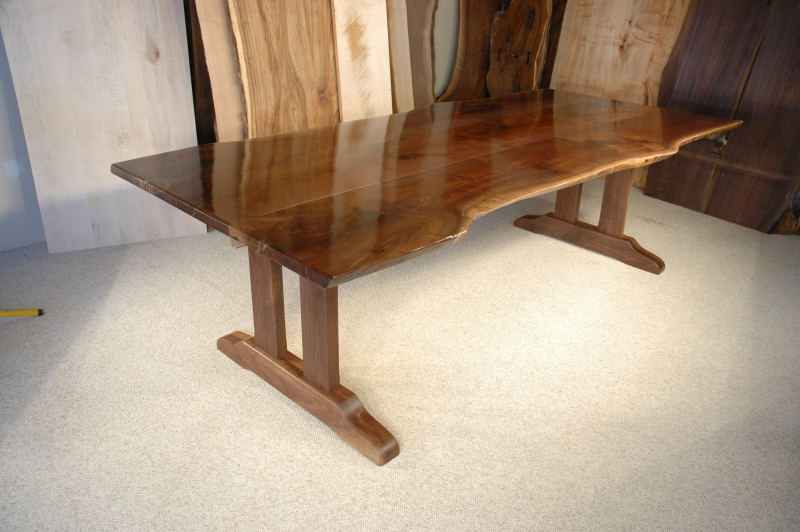 Rustic Walnut Slab Custom Trestle Dining Table