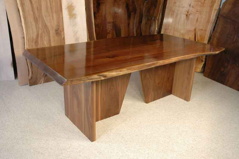 Unusual Custom Reclaimed Walnut Slab Dining Table