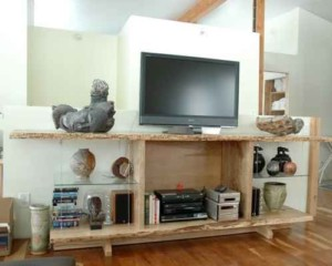 Reclaimed Wood Art Display Cabinet with Video and Audio.
