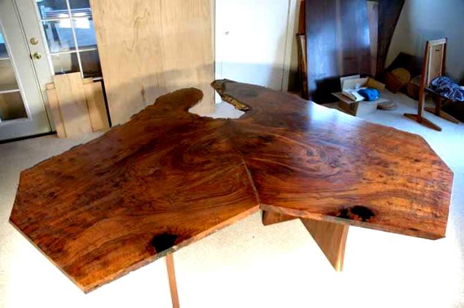 Nakashima Style Modular 2 piece Custom Walnut Custom Slab Dining Table