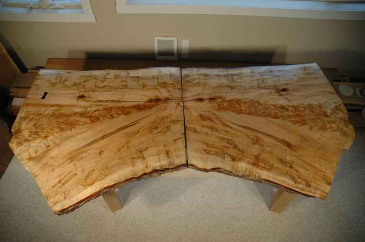 Curly Figured Bookmatched Crotch Maple Slab Nakashima Style Desk