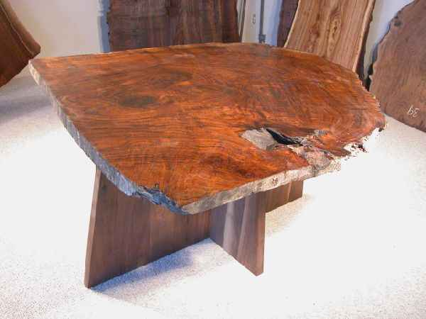 Figured Claro Walnut Burl Slab Nakashima Style Table with Pedestal Base