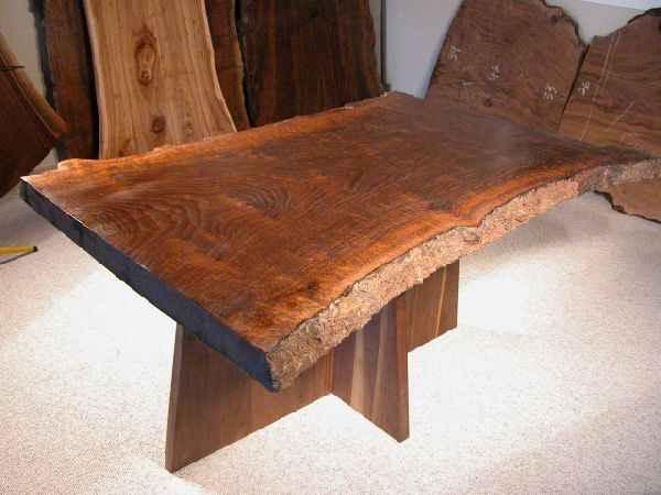 Hourglass shaped claro walnut slab custom dining table for Handmade kitchen table