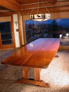 The Lind Custom Walnut Slab Reclaimed Wood Dining Table