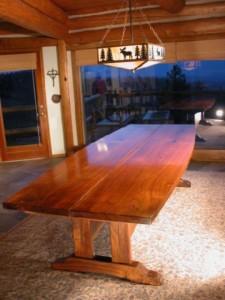 The Lind Custom Walnut Slab Reclaimed Wood Dining Table