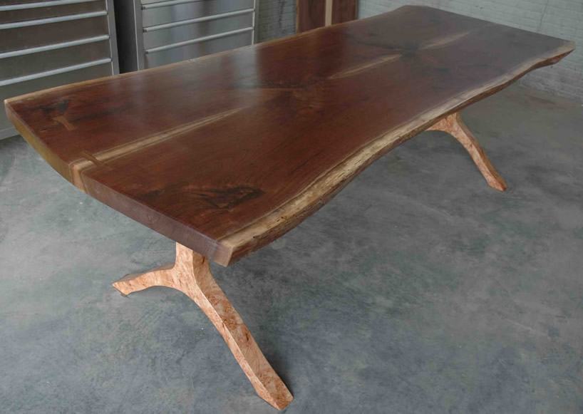 Walnut Crotch Slab Custom Dining Table - The