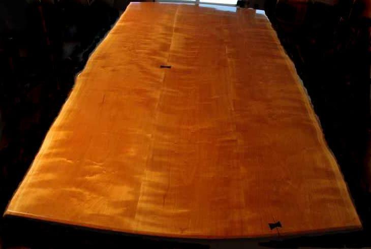 CHERRY with EBONY 3 piece cherry slab table top