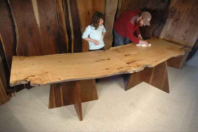 Modular 2 Piece Maple Slab Custom Made Nakashima Style Dining Room Table