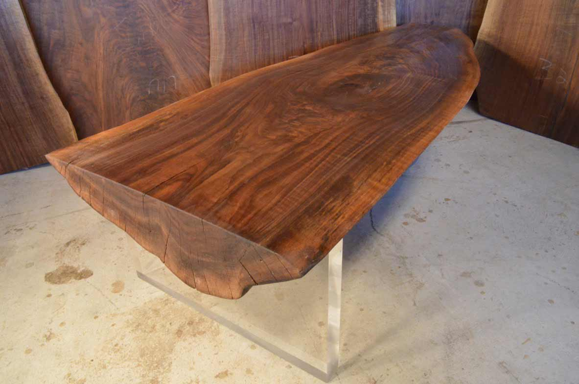 curly walnut custom coffee table