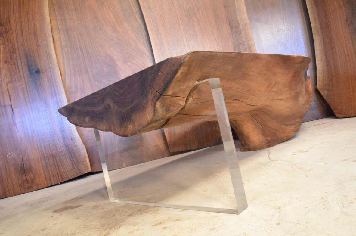 curly walnut custom coffee table