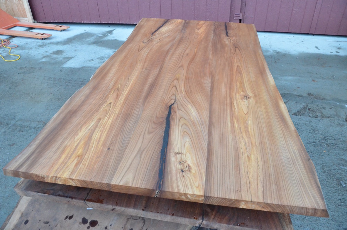 red elm table top from recycled urban trees