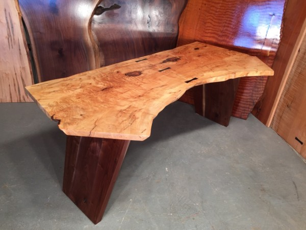 7′ Bookmatched Maple Crotch Top With Inlaid Ebony Butterflies And Solid Walnut Angled Legs