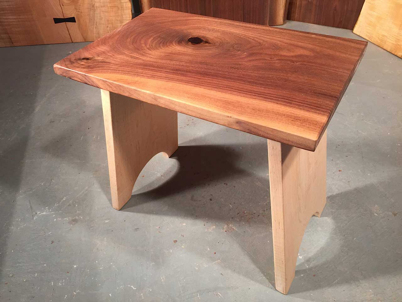 Handcrafted Custom Walnut And Curly Maple Stool
