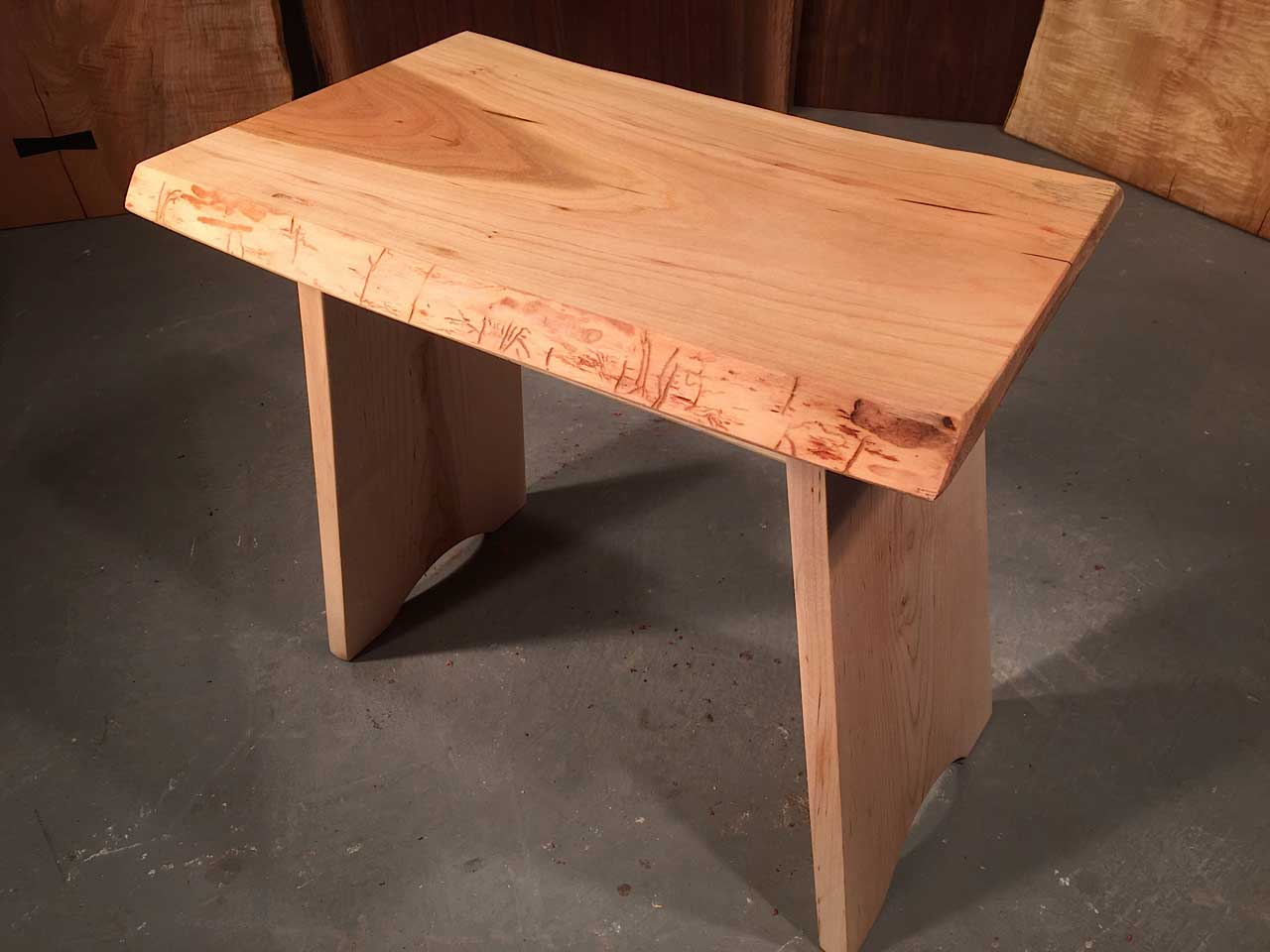 Cherry live edge top and Curly Maple custom stool