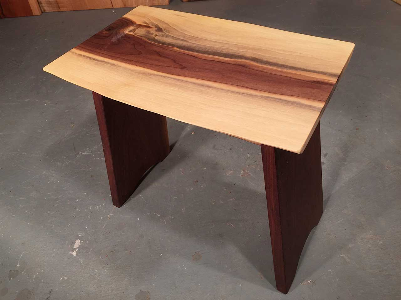 Walnut Live Edge Top With Solid Walnut Leg