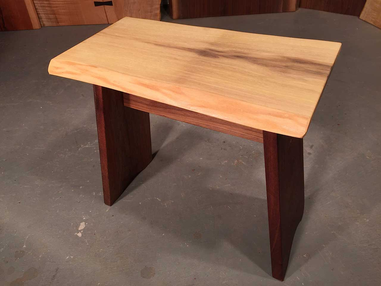 Cream Colored Walnut Live Edge Top With Solid Walnut Legs