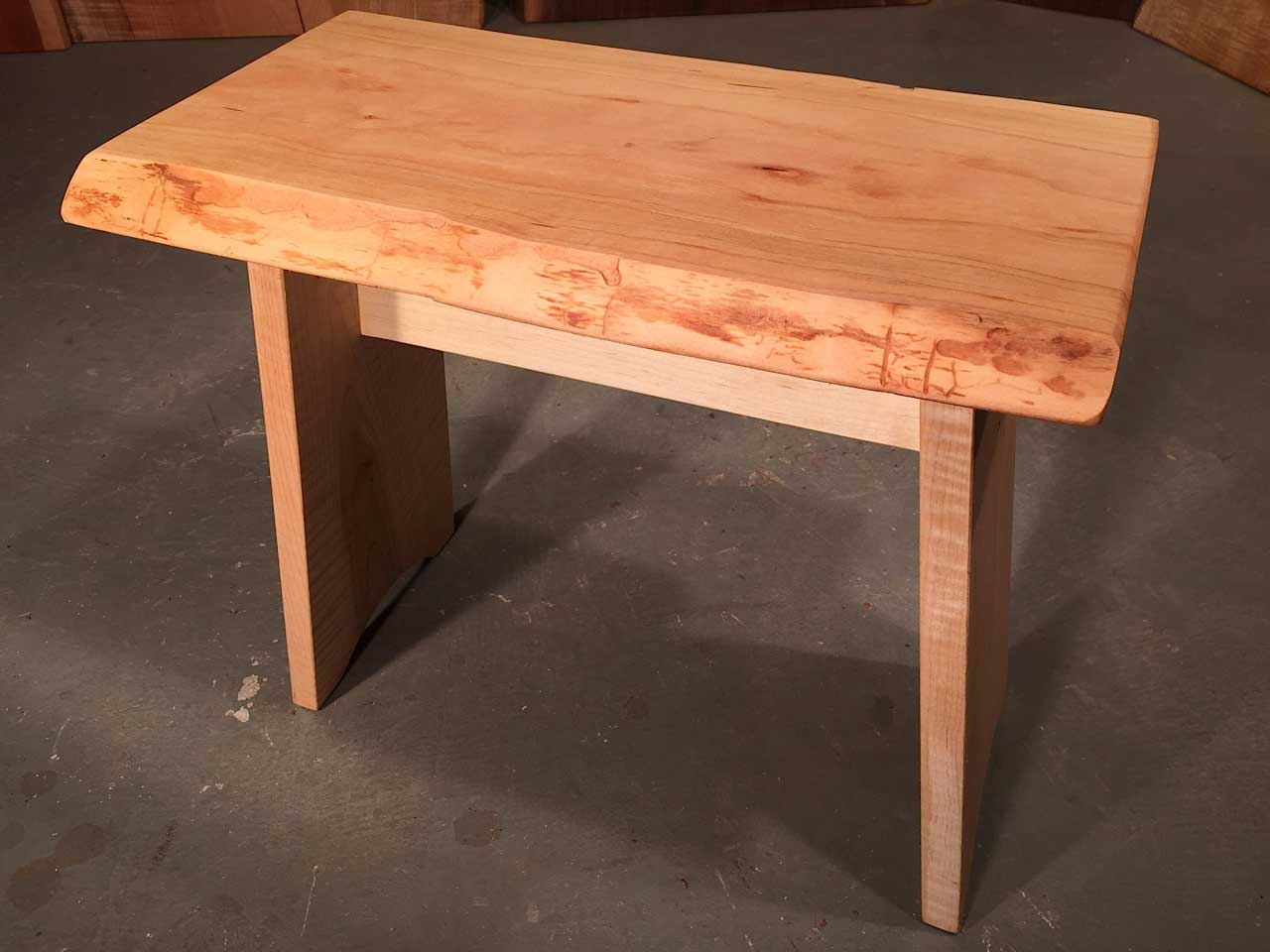 Cherry Live Edge Top With Solid Curly Maple Legs