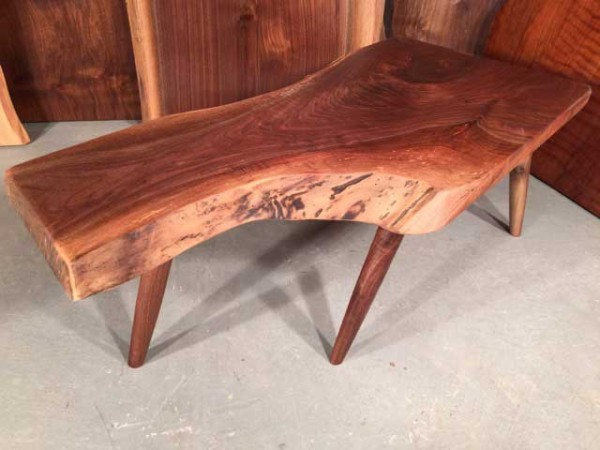 Walnut Crotch Reclaimed Wood Dining Bench
