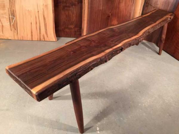 Walnut Slab Rustic Bench