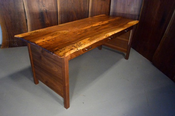 Custom Reclaimed Walnut Three Drawer Desk