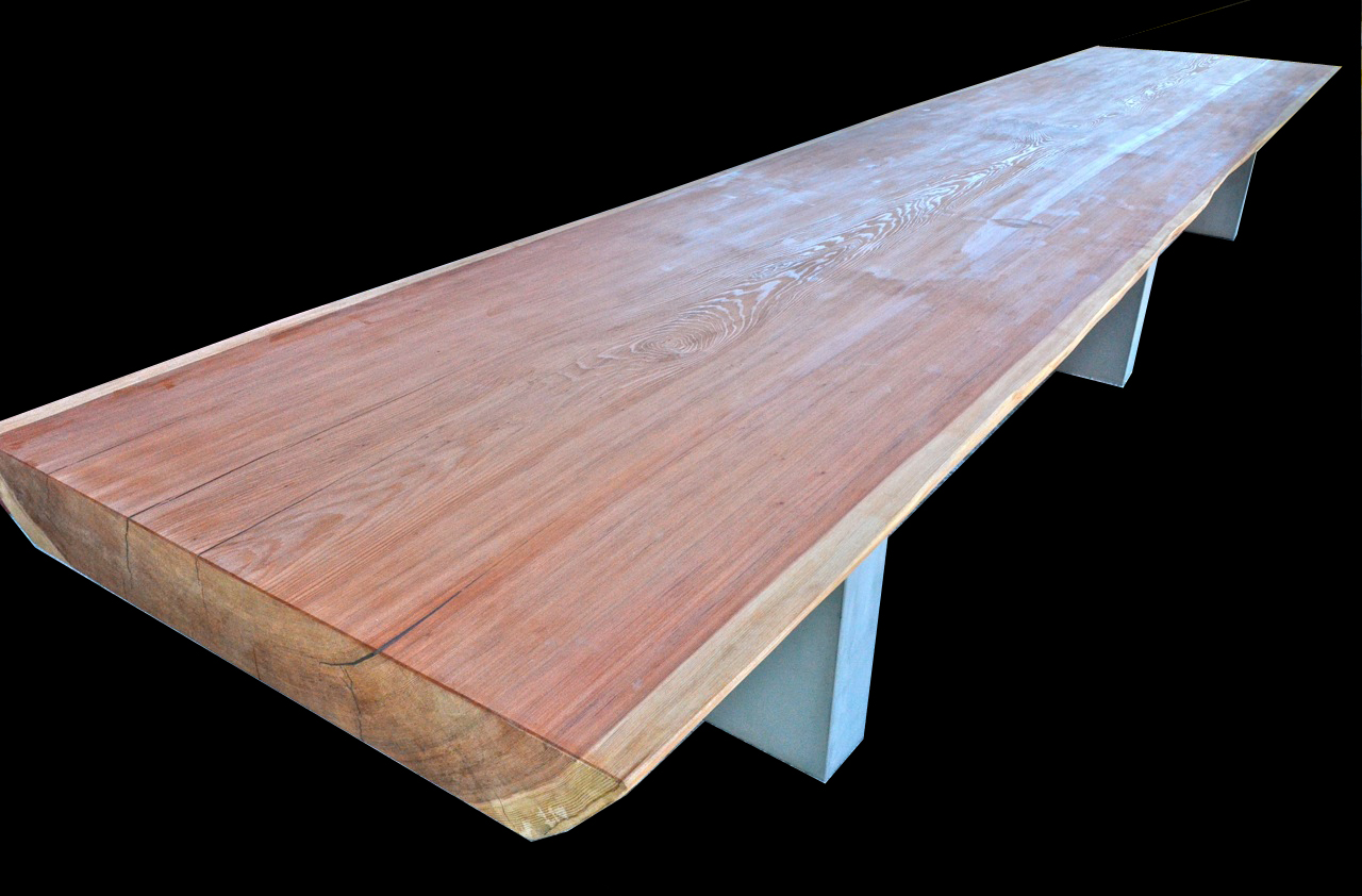 We Put This Amazing Redwood Slab On Three Stainless Steel Bases. Call Us  Today For A Quote On A Wood Slab Table To Meet Your Needs.