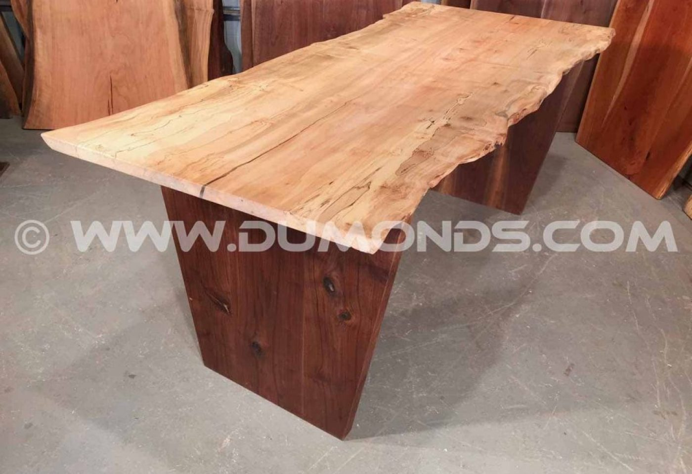 WASHINGTON, DC CURLY SPALTED MAPLE TABLE WITH WALNUT BASE