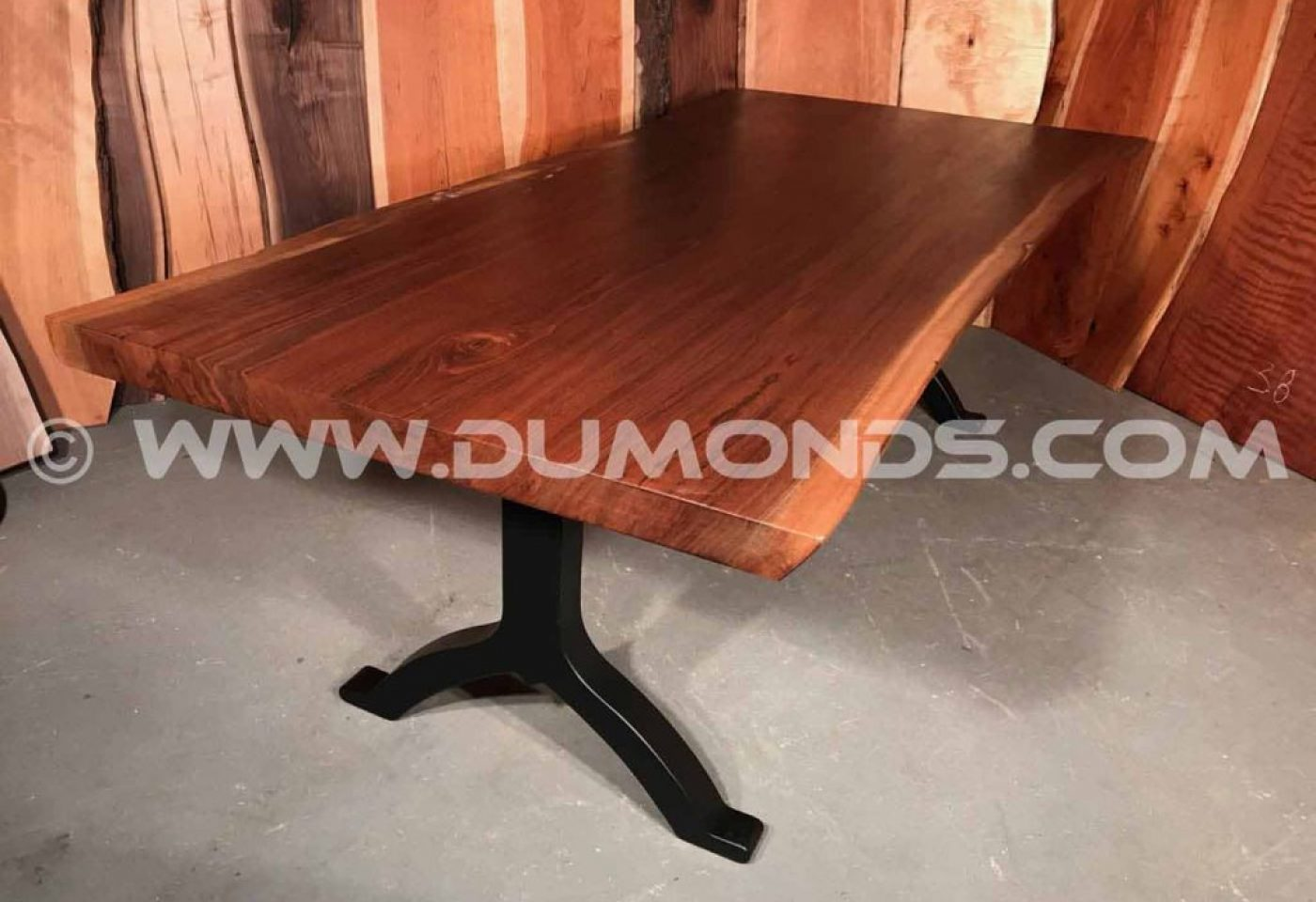 OREGON CLARO WALNUT LIVE EDGE TABLE WITH BLACK ARCHED STEEL LEGS
