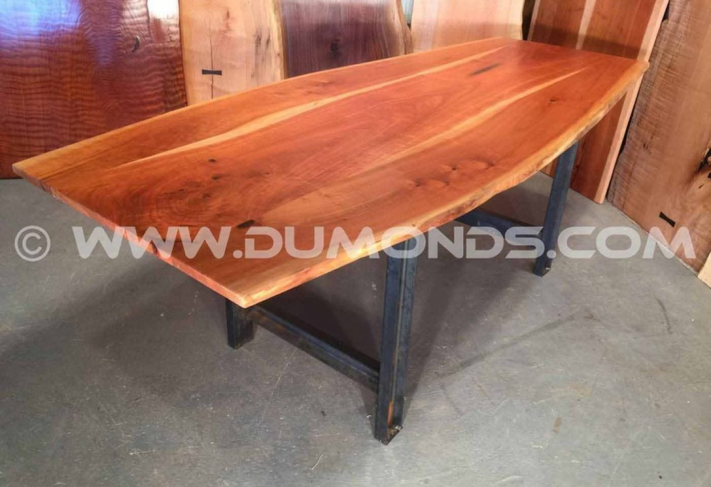 PENNSYLVANIA CHERRY BOAT SHAPED LIVE EDGE TABLE