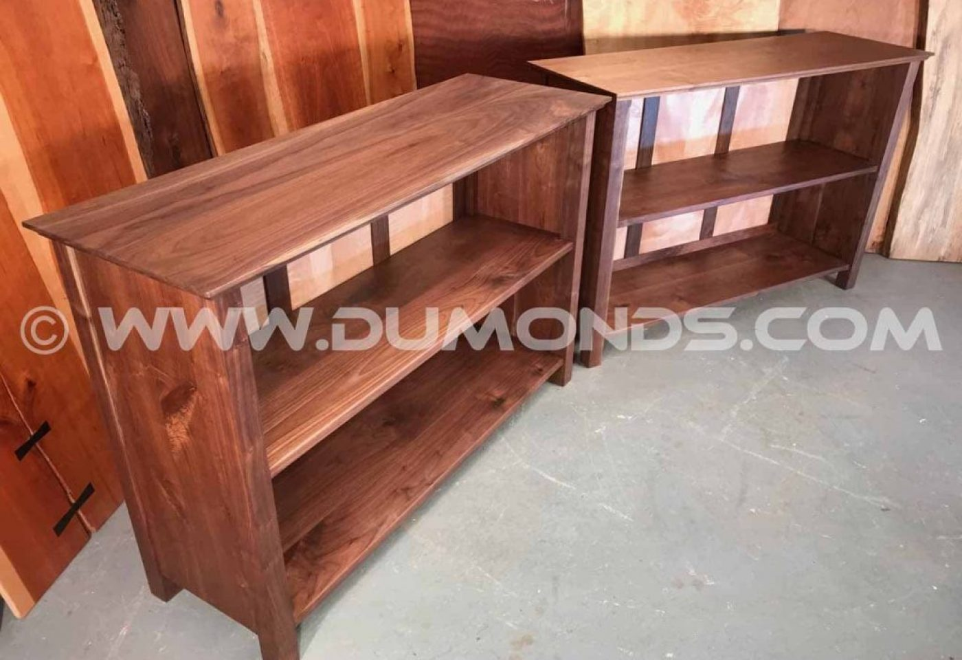 """THE MENENBERG"" WALNUT AND CURLY MAPLE SOLID WOOD BOOKCASES"