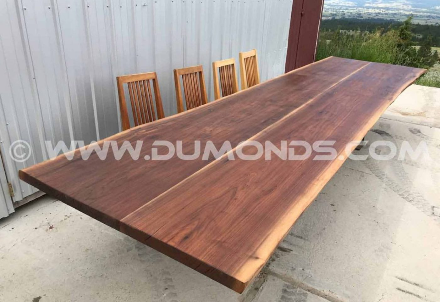 14'9″ LIVE EDGE DOUBLE WALNUT DINING TABLE WITH STEEL I-BEAM LEGS