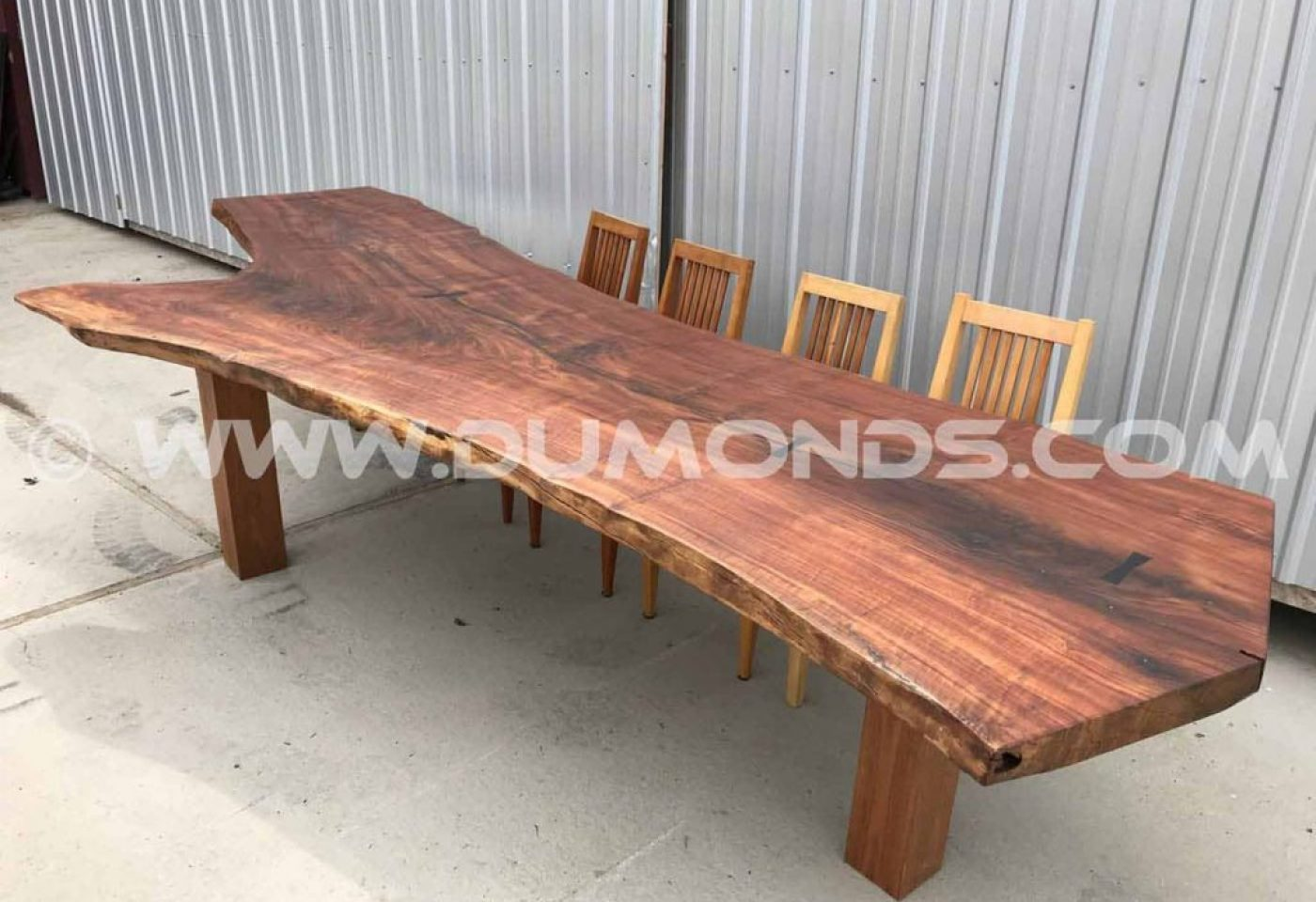 12'8″ LIVE EDGE WALNUT CROTCH DINING TABLE WITH WALNUT LEGS
