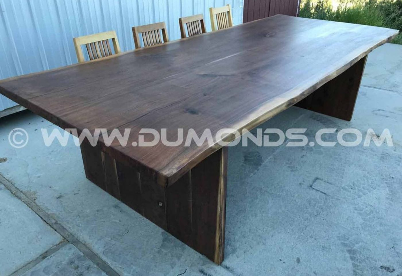 4X10′ WALNUT LIVE EDGE DINING TABLE WITH WALNUT LEGS