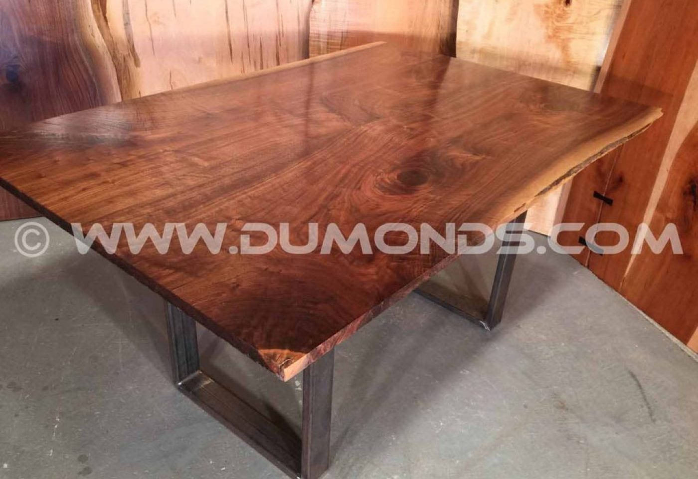 CURLY WALNUT FROM MARYLAND- LIVE EDGE SLAB TABLE