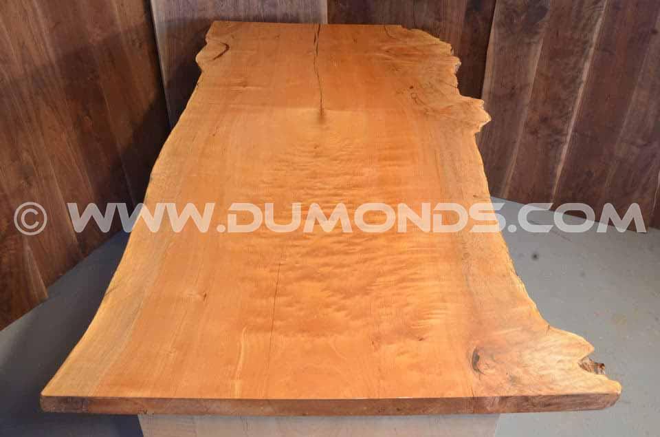 Burled Maple Slab Custom Executive Desk With Fine Wood Grain