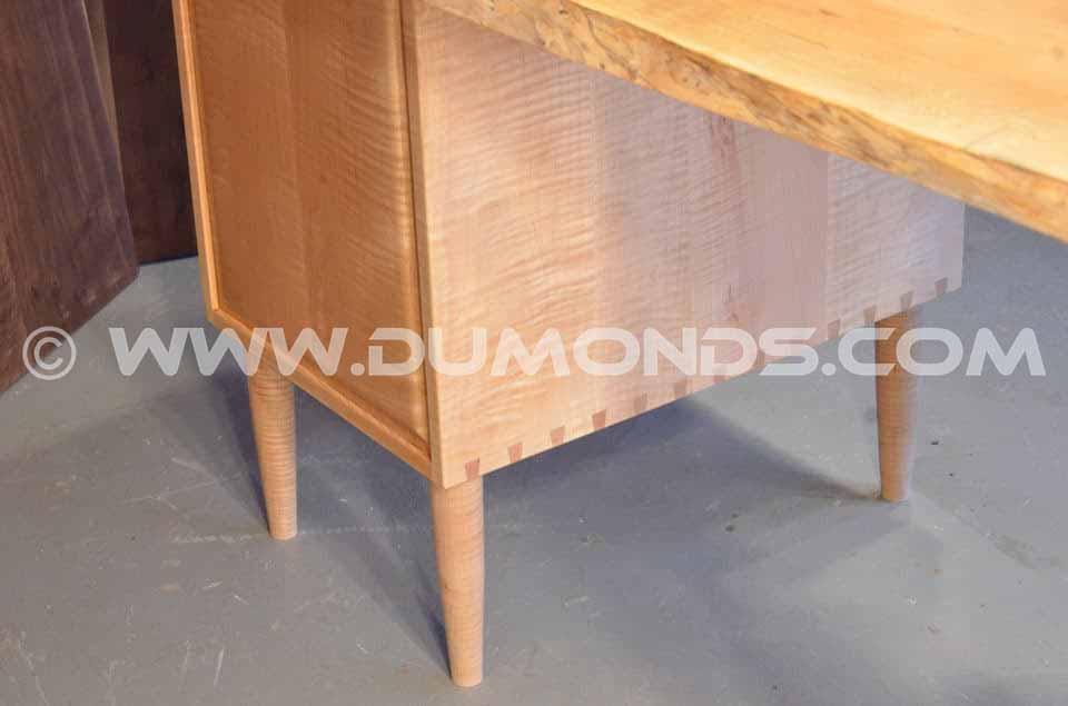 Burled Maple Slab Custom Executive Desk Bottom