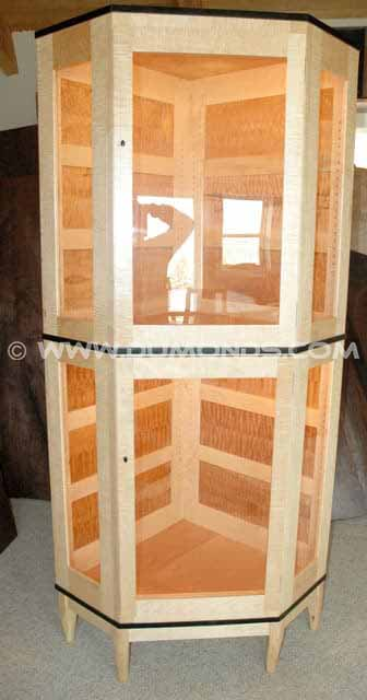 Quilted Maple with Ebony and Curly Maple Lighted Custom Display Cabinet