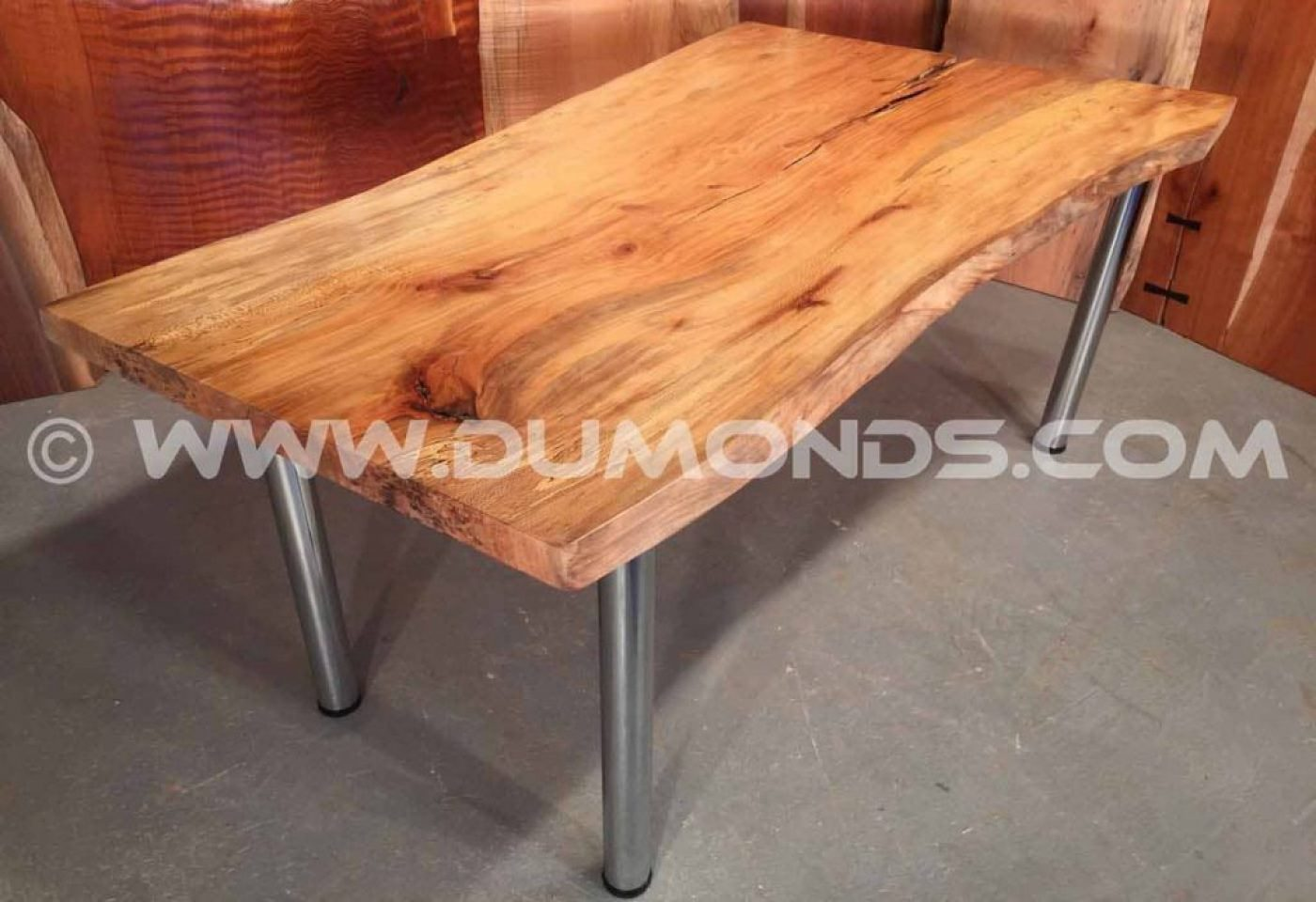 "2"" brushed steel legs shown under a 6' urban spalted sycamore top"