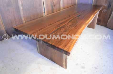 114″ Long Natural Edge Curly Walnut Dining Table width=