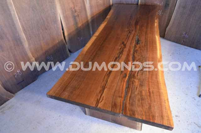 114″ Long Natural Edge Curly Walnut Dining Table