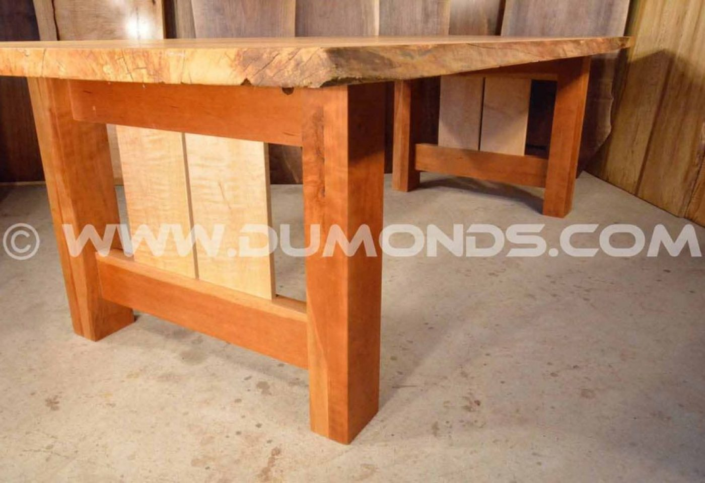 CHERRY WITH DOUBLE CURLY MAPLE PANELED TABLE BASE