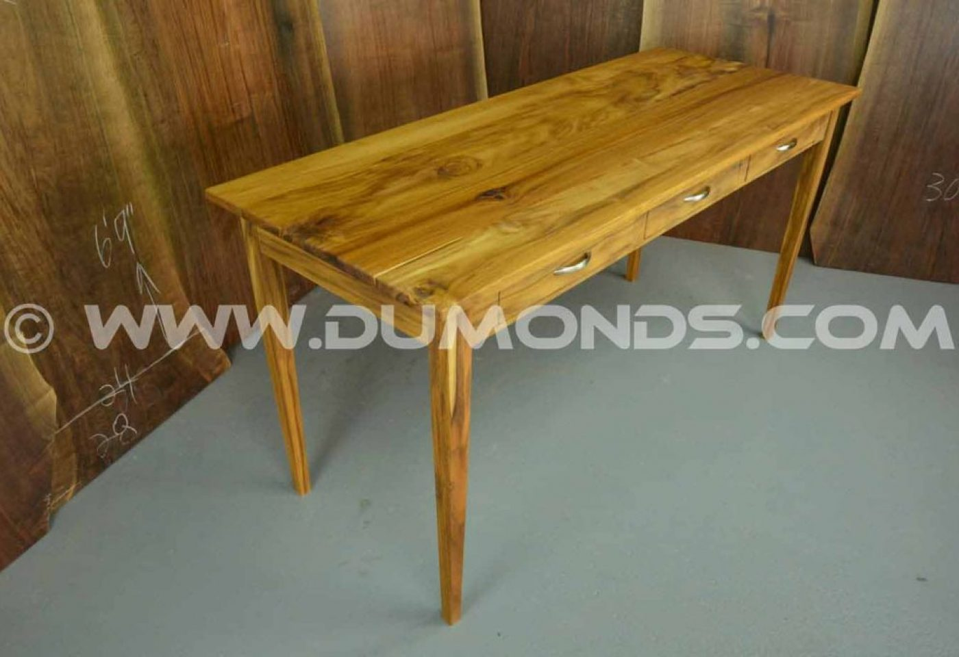 TEAK DESK WITH TAPERED LEGS….THESE LEGS