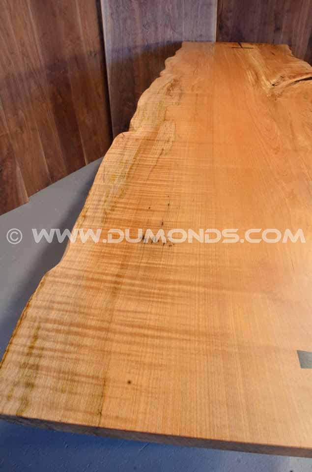 Burled Maple Slab Custom Executive Desk with Sycamore Pedestal Base width=
