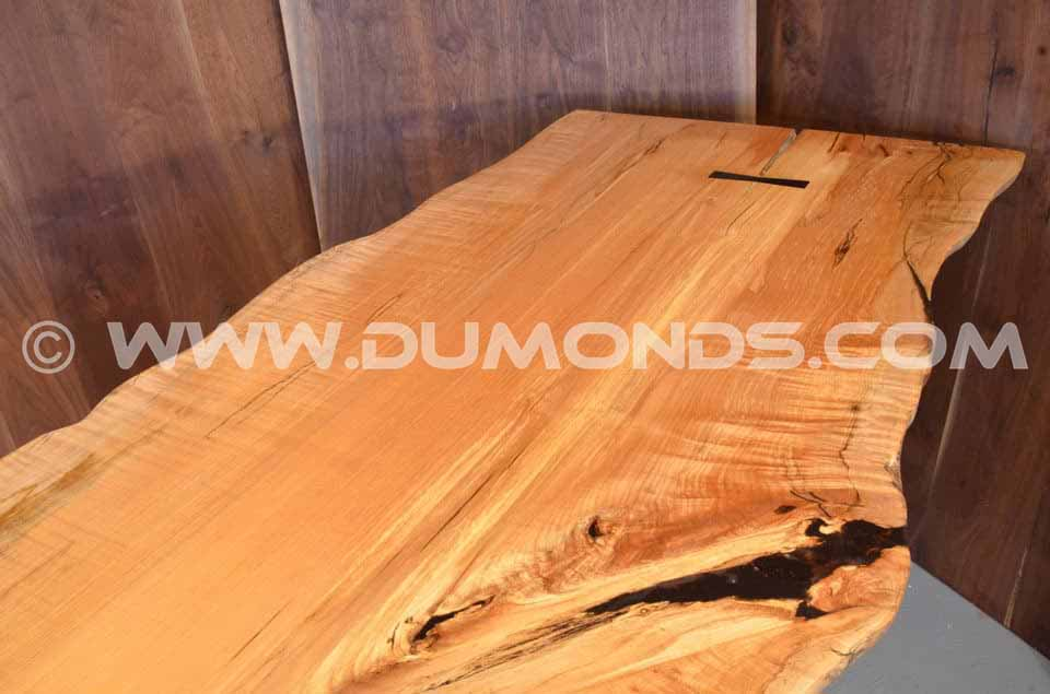 Burled Maple Slab Custom Executive Desk with Sycamore Pedestal Base