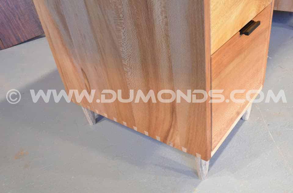 Burled Maple Slab Custom Executive Desk with Sycamore Pedestal Base