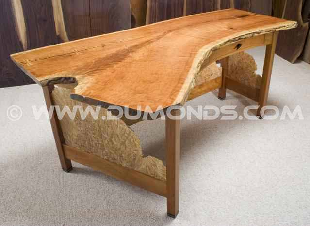 Custom wood slab office desk