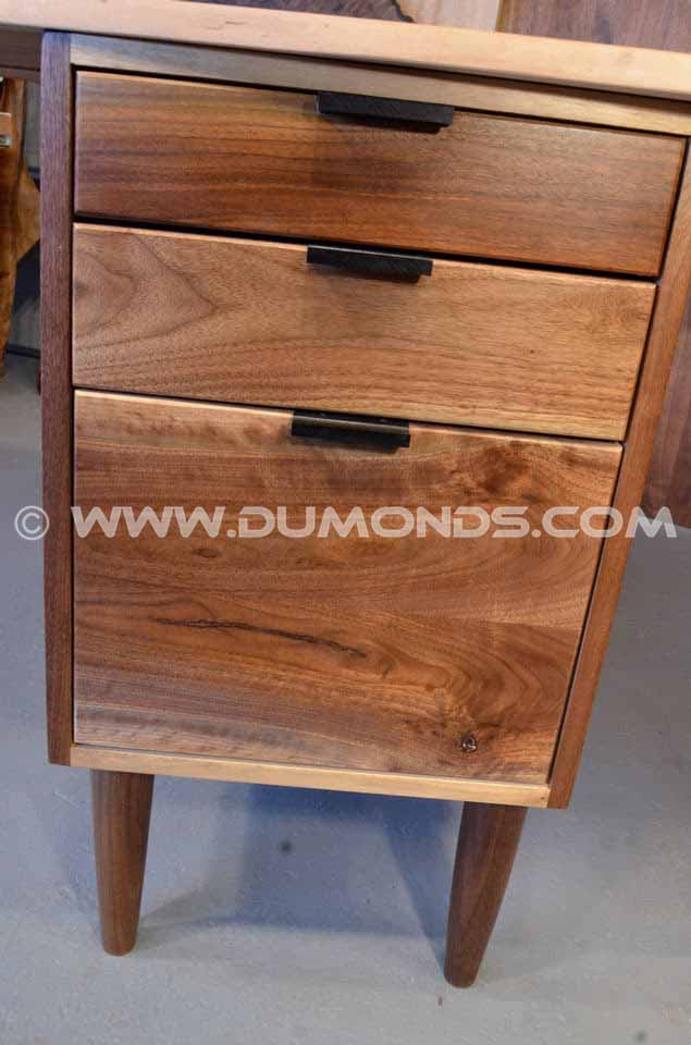 Cherry Slab Custom Executive Desk with Walnut Pedestal Base