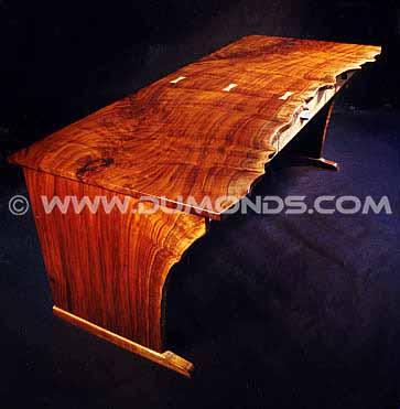 Custom Contemporary Rustic Claro Walnut Slab Desk